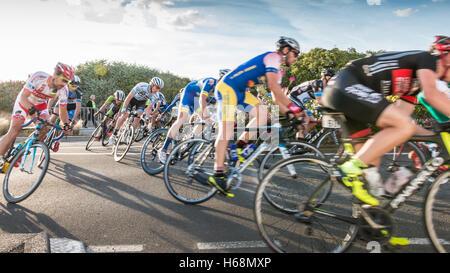 Saint Hilaire de Riez, France - August 10, 2016 : competitors in a night bike race, the 35th Trophy Louis Caiveau - Stock Photo