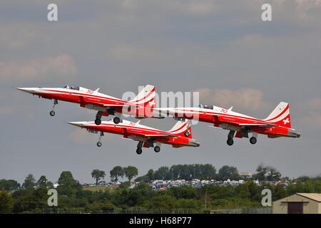 Patrouille Suisse aerobatic display team with their Northrop F-5E Tiger II at RIAT Fairford 2014 - Stock Photo