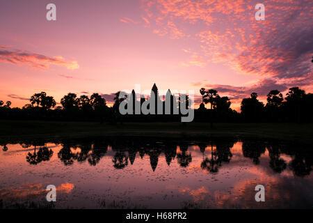 Angkor Wat Sunrise Landscape - Reflection in holy lake - Stock Photo