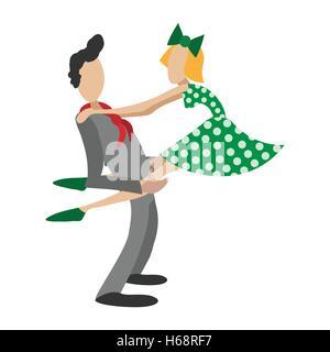 Couple dancing rocknroll cartoon illustration - Stock Photo