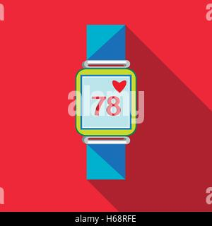 Pulsometer heart rate watch icon, flat style - Stock Photo