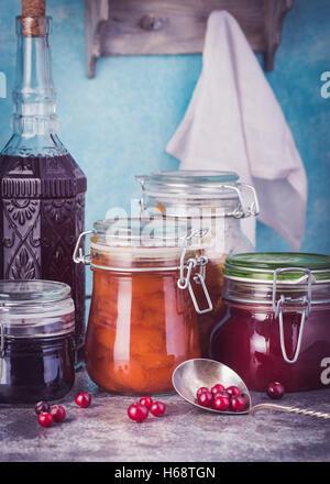 Fresh various jars of homemade jam - Stock Photo