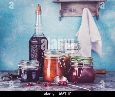 Various jars of homemade jam - Stock Photo