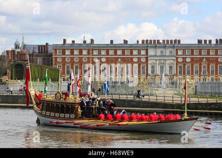 Queen's row barge Gloriana in the Tudor Pull on the River Thames - Stock Photo