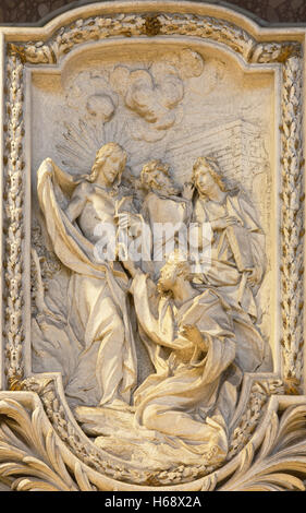 ROME, ITALY - MARCH 10, 2016: The relief of  The Incredulity of St Thomas by Carlo Monaldi in church Basilica di - Stock Photo