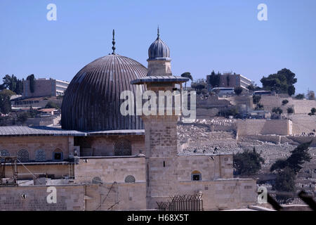 View of al-Fakhariyya Minaret and El Aksa Mosque along the southern wall of Haram al Sharif Old City East Jerusalem - Stock Photo