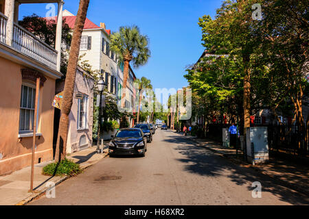 Homes on Queen Street in the Historic District of Charleston, SC - Stock Photo