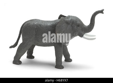 Grey Plastic Toy Elephant Isolated on White Background. - Stock Photo