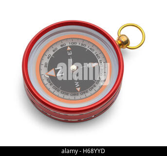 Red Metal Magnetic Compass Isolated on White Background. - Stock Photo