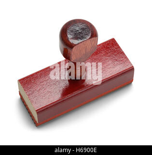 Wood Office Rubber Stamper with Copy Space Isolated on White Background. - Stock Photo
