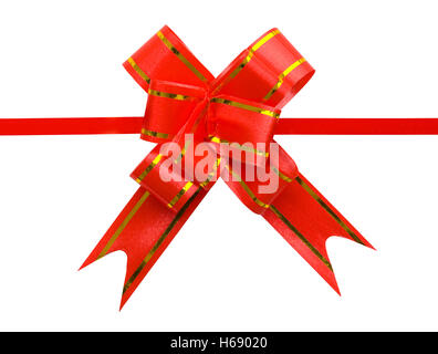 Fancy Red Present Bow Isolated On White Background