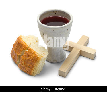 Broken Bread with Wine Goblet and Cross Isolated on White Background. - Stock Photo