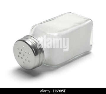Glass Salt Shaker Tipped Over Isolated on White Background. - Stock Photo