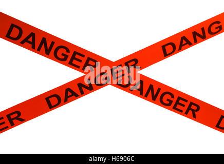 Orange Danger Cordon Tape Isolated on White Background. - Stock Photo