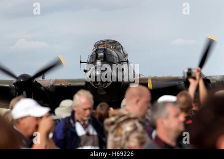 The RAF Battle of Britain Memorial Flight's Avro Lancaster B1 Bomber, PA474, at the Battle of Britain Air Show 2010, - Stock Photo