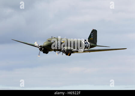 Former USAAF Douglas C-47A Skytrain (Dakota) WW2 transport aircraft at Kemble Air Day 2011, Gloucestershire, United - Stock Photo