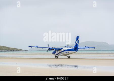 A Loganair flight from Glasgow lands on  An Tràigh Mhòr beach (English: The Big Beach) which is used as a runway. - Stock Photo