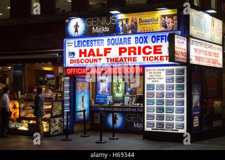 Half price discount theatre ticket booth in Leicester Square, London, UK - Stock Photo