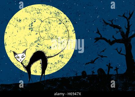Halloween Black Cat   A black cat in a cemetery with a full moon on Halloween. - Stock Photo
