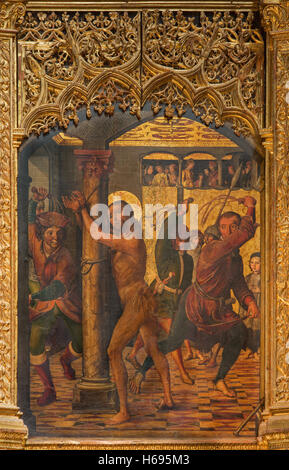 AVILA, SPAIN, APRIL - 18, 2016: The painting of The Flagellation on the main altar of Catedral de Cristo Salvador - Stock Photo