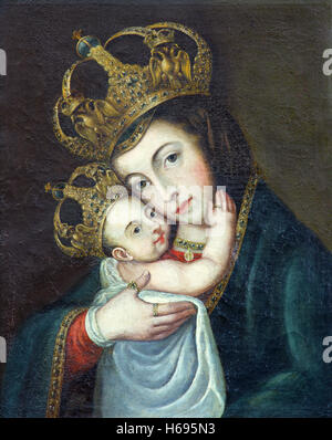 AVILA, SPAIN, APRIL - 18, 2016: The painting of Madonna in Catedral de Cristo Salvador by unknown artist of 17. - Stock Photo