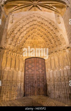 AVILA, SPAIN, APRIL - 18, 2016: The north gothic portal of Catedral de Cristo Salvador. - Stock Photo
