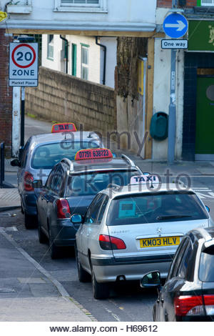 Taxis rank, Sheep Market Hill, Blandford, Dorset, England UK - Stock Photo