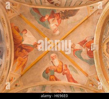 BRESCIA, ITALY - MAY 22, 2016: The ceiling fresco of Four Evangelists in Chiesa di San Pietro in Olvieto (St. Barbara - Stock Photo