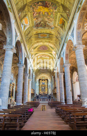 BRESCIA, ITALY - MAY 23, 2016: The nave of church Chiesa di Santa Maria del Carmine. - Stock Photo