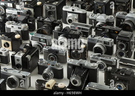Collection of old analogue different camera's - Stock Photo