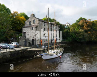 Adventure Activities in old warehouse on River Teifi Cardigan Ceredigion Wales UK in this ancient historic market - Stock Photo