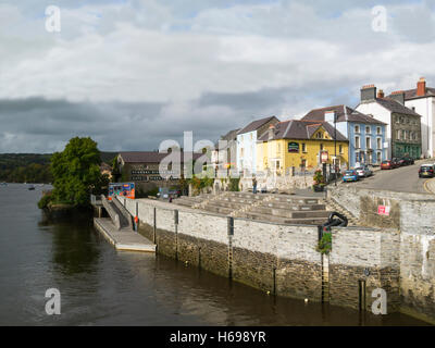 View across River Teifi to Cardigan High Street Ceredigion Mid Wales UK in this ancient historic market town on - Stock Photo