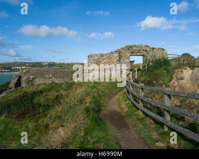 Fishguard Fort ruins built 1781 to guard prosperous port Pembrokeshire South Wales UK on Pembrokeshire Coastal Path - Stock Photo