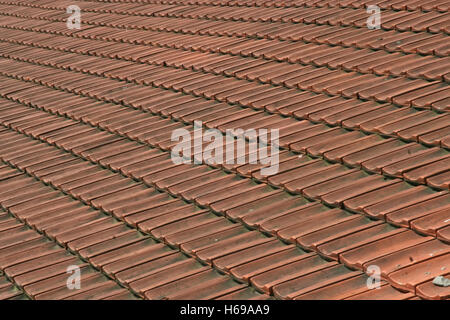 Exterior of building, rooftop with ceramic tiles and a small window ...