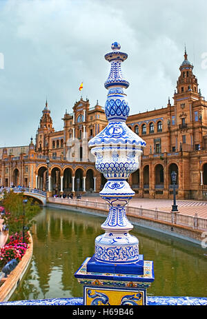 The Spain Square is richly decorated with painted ceramic elements and tiles in unique style, typical for Andalusia, - Stock Photo