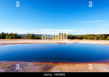 Grand Prismatic Spring landscape view in Yellowstone National Park - Stock Photo