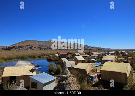 Totora reed floating islands Uros, lake Titicaca, Peru - Stock Photo