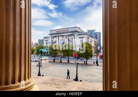 The Empire Theatre on Lime Street, Shot from St George's Plateau  with Prince Albert statue, Liverpool, Merseyside, - Stock Photo