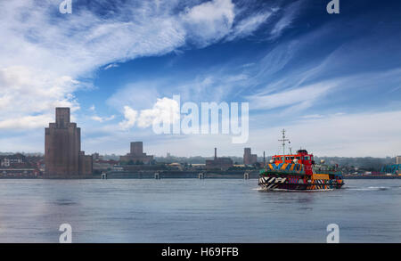 Sir Peter's design'Everybody Razzle Dazzle'  on the Mersey Ferry 'Snowdrop'  crossing the river, Liverpool, Merseyside, - Stock Photo