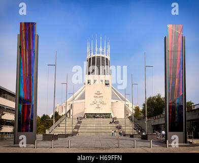 Liverpool Metropolitan Cathedral, aka 'Paddy's Wigwam'  and 'Mersey Funnel' designed by Frederick Gibberd and completed - Stock Photo