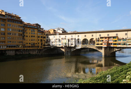 The famous Ponte Vecchio Bridge over the Arno in Florence Italy - Stock Photo