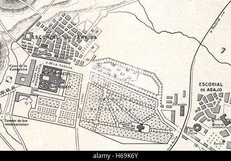 A plan of The Royal Site of San Lorenzo de El Escorial, Madrid, Spain, commonly known as El Escorial. - Stock Photo