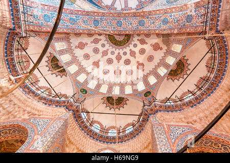 Sights of Turkey. Blue mosque in Istanbul. Interior of Turkish monument. - Stock Photo