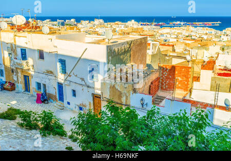 The Kasbah located on the top of the hill is the best place to enjoy aerial views of Sousse, Tunisia. - Stock Photo