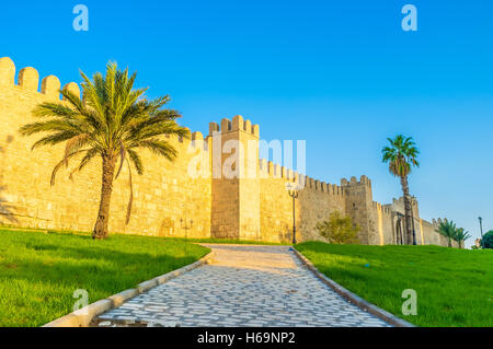 the medieval town wall is one of the best preserved and notable landmarks in Sousse, Tunisia. - Stock Photo