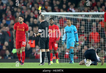 Liverpool's Danny Ings (left) is shown the yellow card by referee Jonathan Moss during the EFL Cup, round of 16 - Stock Photo