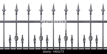 Forged decorative fence isolated horizontal panorama, large panoramic silhouette, wrought iron fleur-de-lis lattice - Stock Photo