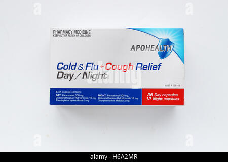 Close up of Apohealth cold and flu relief day and night tablets isolated against white background - Stock Photo