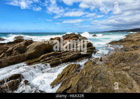 View of rugged and dramatic coastline at Bermagui, Sapphire Coast, South Coast, New South Wales, NSW, Australia - Stock Photo