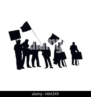 Cheering or protesting crowd silhouettes - Stock Photo
